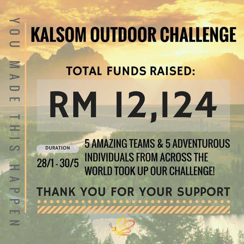 Kalsom Outdoor Challenge Fundraising Update